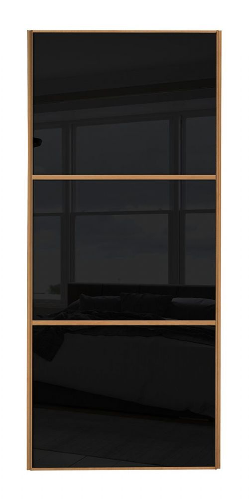 Wideline Sliding Wardrobe Door Beech Frame Black Glass